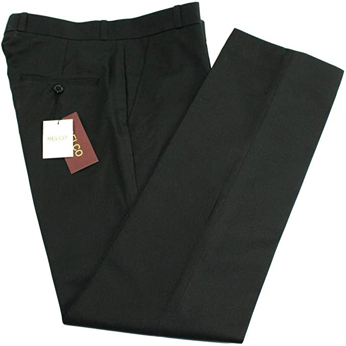 1950s Men's Pants, Trousers, Shorts | Rockabilly Jeans, Greaser Styles Relco Mens Classic Black Stay Press Trousers £34.99 AT vintagedancer.com
