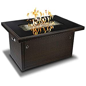 Outland Living Series 401 Brown 44-Inch Outdoor Propane Gas Fire Pit Table, Black Tempered Tabletop w/Arctic Ice Glass Rocks and Resin Wicker Panels, Espresso Brown/Rectangle 4