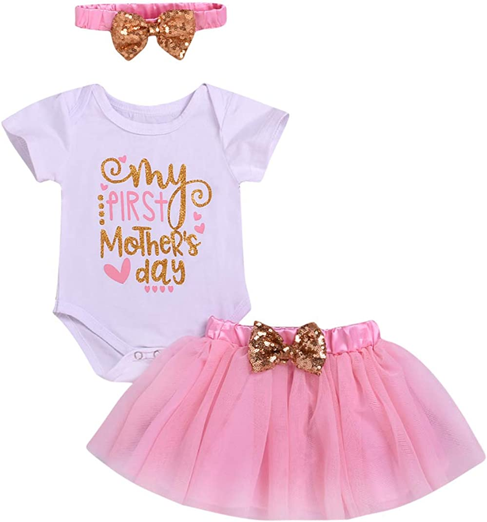 YOUNGER TREE Newborn Baby Girl My 1st Mothers Day Skirt Set Romper+Tutu Pink Skirt+Headbands Clothes Outfits