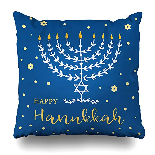 Ahawoso Throw Pillow Cover Holiday Candle Happy Hanukkah Menorah Lettering Holidays Hanukka Vintage Candlestick Celebrate Cushion Case Home Decor Design Square Size 16 x 16 Inches Pillowcase]()