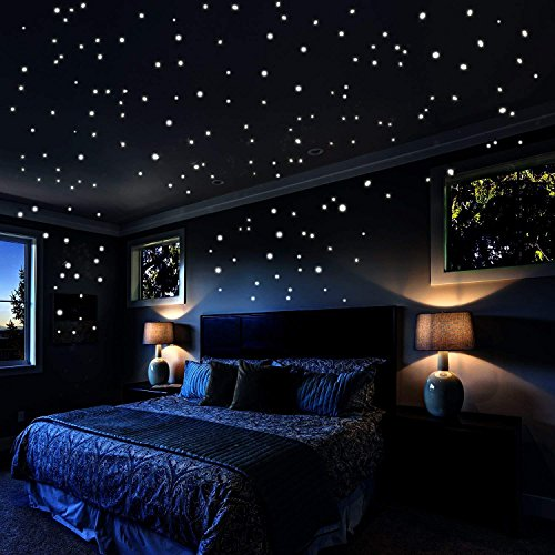 Glow In The Dark Stars Wall Stickers, 253 Adhesive Dots and Moon Luminous Ceiling Decals for Lovers' Bedroom Decor - Star Wars Wall Stickers Gift for Kids Bedroom Starry Sky Decor -
