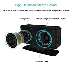 DOSS Wireless Handsfree Bluetooth V4.0 Portable Speaker with HD Sound and Bass (Black)