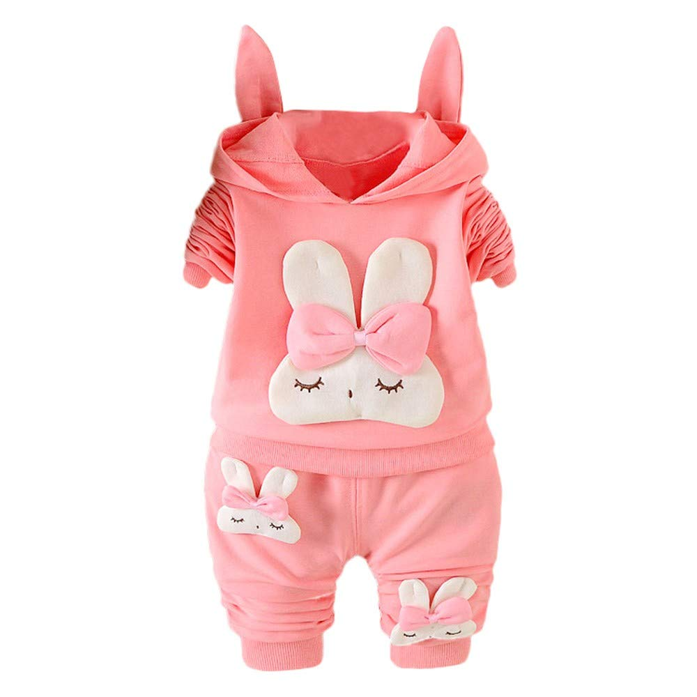 Suma-ma Fashion Long Sleeve Rabbit Print Hooded Pullover Tops Solid Pants 2PCS Set for Toddler Baby Girl (18Months, Pink)