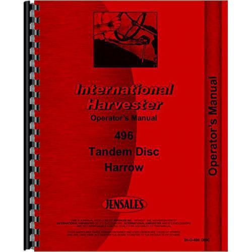 New International Harvester 496 Disc Harrow Operators Manual