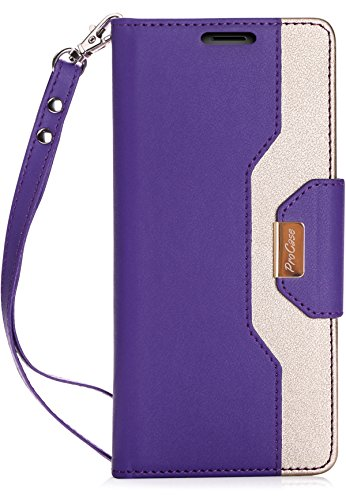 ProCase Galaxy Note 8 Wallet Case, Flip Kickstand Case with Card Slots Mirror Wristlet, Folding Stand Protective Cover for Samsung Galaxy Note8 2017 -Purple