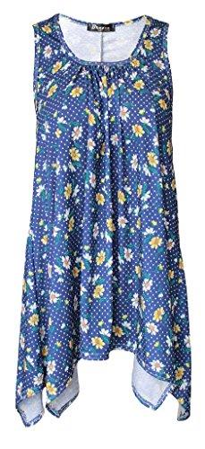Mujer Dobladillo Pañuelo Top Acampanado Camiseta Sin Mangas Pañuelo Camiseta Sin Mangas Tallas Grandes - sintético, Floral Margaritas, 95 viscosa 5% elastano, Mujer, EU 52-54 / XXXL