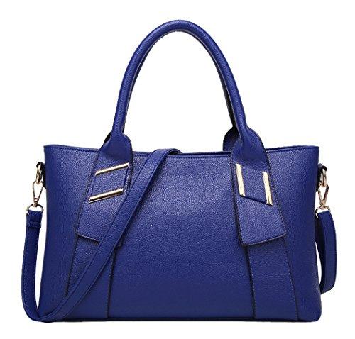 HopeEye mujer Tendencias de la moda Cuero De La Pu Bolso de mujer(dwpj04-5-Brown) 2-azul