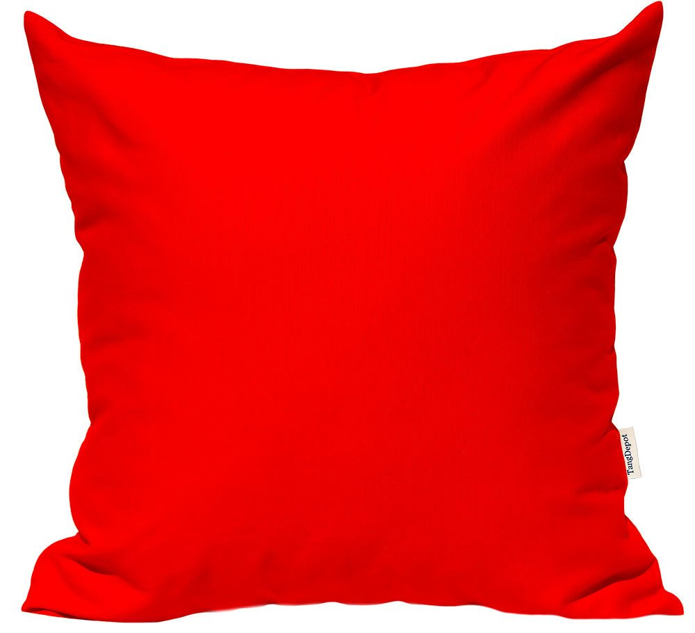 TangDepot Handmade Decorative Solid 100% Cotton Canvas Throw Pillow Covers/Pillow Shams, Many Colors available, (16''x16'', Red Orange)