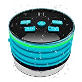 Portable Waterproof Bluetooth Speaker,IPX7 Water Resistant,LED Display,Breathing Light With FM Radio,Suction Up For Shower,Bathroom,Bathtub,Pool,Car (Blue)