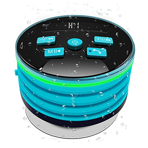 Portable Waterproof Bluetooth Speaker,IPX7 Water Resistant,LED Display,Breathing Light With FM Radio,Suction Up For Shower,Bathroom,Bathtub,Pool,Car (Blue) by HAAYOT