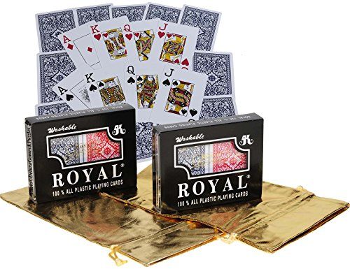 Royal Plastic Playing Cards with Large Numbers _ Bundle of 4 Decks _ Two Plastic Cases _ Bonus Two Gold Metallic Drawstring Storage Pouches
