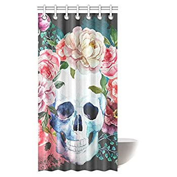 InterestPrint Skull Shower Curtain, Big Flowers and Skull Design Skeletons Bathroom Shower Curtain with Hooks, 36 X 72 Inches