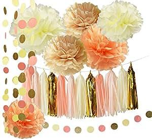 Rustic/Vintage Baby Shower Decorations Birthday Decor Tassel Garland In  Cream Peach Champagne Tissue Paper