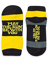 Inspirational Athletic Running Socks | Women's Woven Low Cut | May The Run Be With You | Yellow/Black