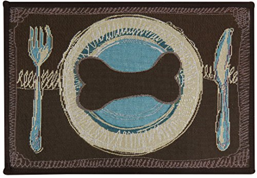 Park B. Smith PB Paws & Co. Dog's Dinner Tapestry Indoor/Outdoor Pet Mat, Woodland/Sea Spray, 13 x (Park B Smith Rug)