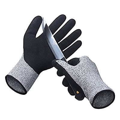 Cut Resistant Gloves Level 5 Protection Safety Cut Proof Gloves for Kitchen Outdoor Indoor Yard Work (1 Pair)