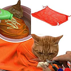 i'Pet® Adjustable Polyester Mesh Big Cat Grooming Bag Dog Cleaning No Scratching Biting Restraint for Bathing Nail Trimming Injecting Examing (Orange)