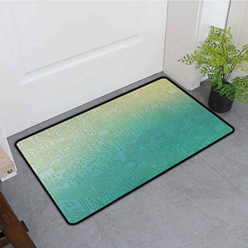 Anhounine Abstract Outdoor Door mat Technology Pattern Motherboard Image Background Vector Graphics Print Durable W35 x L59 Jade Green Pale Green