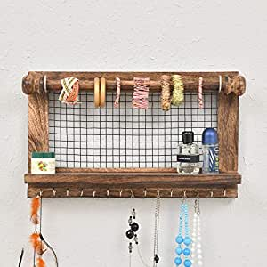 DECORHYTHM Wall Mount Jewelry Organizer Holder with Hooks Shelf Rod Hanging Earrings Necklaces Bracelets Rings Storage Accessories