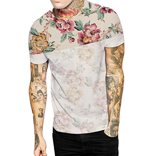 - iOPQO T-Shirt for Mens, Casual Floral Flower Print Button Shirt Tops Blouse