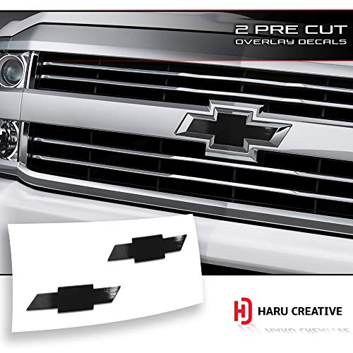 Haru Creative - Front Hood Grille Tailgate Bumper Trunk Bowtie Emblem Overlay Vinyl Decal Sticker Compatible with and Fits Chevy Chevrolet Silverado 2016-2018 - Gloss Black