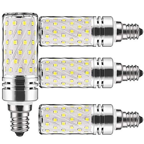 (LED Corn Light Bulbs E12 E26 E27 15W 6000K 100 watt Incandescent Bulbs Equivalent 1500Lm, Non dimmable Small Edison Screw Candle Bulb,Candelabra Light Bulbs (4 Packs) (E12 LED Daylight Cool White))