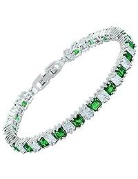 "[RIZILIA Ice Cube] Princess Cut Multi-Color CZ 18K White Gold Plated Tennis Bracelet, 7"""