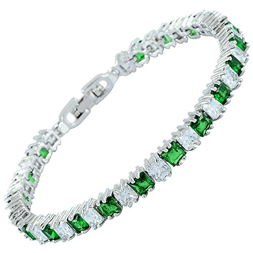 Infinity Emerald Bracelets ([Ice Cube] Princess Cut Simulated Green Emerald CZ 18K White Gold Plated Tennis Bracelet, 7
