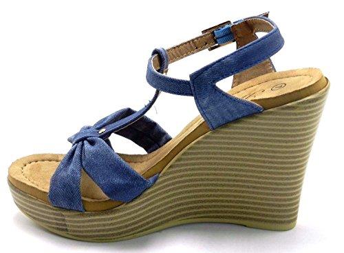 Kvinna Nya Multi Stil Blå Denim Krängt Kil Platt Klänning Komfort Gladiator Sandal Blå Wallie-03