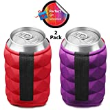Beer Can Sleeves for Ice Cold Beers Summer Cookouts, College Reunion Parties - Set of 2 Collapsible Beer Soft Drink Can Insulator Cooler with INNOVATIVE Reversible Double Sided Design By Metric USA
