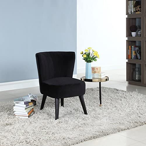 Divano Roma Furniture Classic and Traditional Living Room Velvet Fabric Accent Chair Black