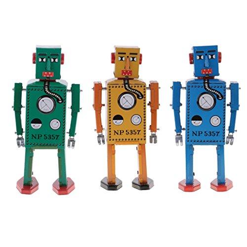 Jili Online 3PCS Vintage Tin Toy Mechanical Clockwork Lilliput Robot Collectible Models by Jili Online (Image #3)