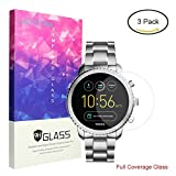 For Fossil Q Explorist Screen Protector, Lamshaw Full Coverage Tempered Glass Screen Protector for Gen 3 Smartwatch (Full Coverage-3 Pack)