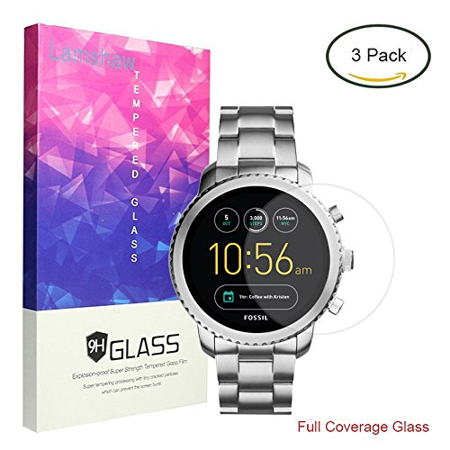 For Fossil Q Explorist Screen Protector, Lamshaw Full Coverage Tempered Glass Screen Protector for Gen 3 Smartwatch (Full Coverage-3 Pack) by Lamshaw