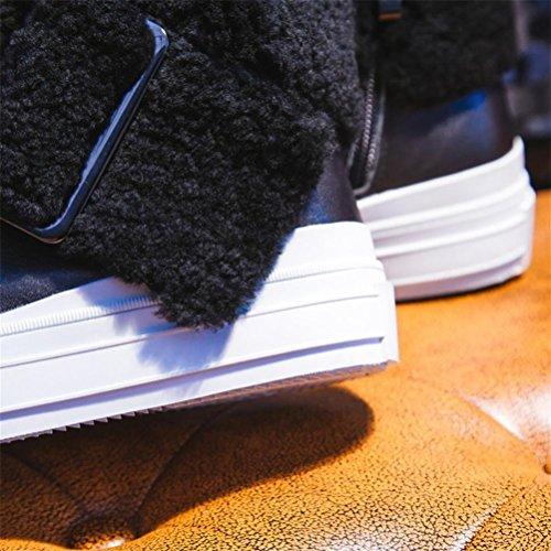 La ocio de Señoras Mantenga Botas calientes de Botas de algodón Botas primera de locomotora QPYC de motociclista cachemira mujer Botas inferior Botas de capa cuero de de Grueso cortas black Co Zapatos metal 7E4dzqw