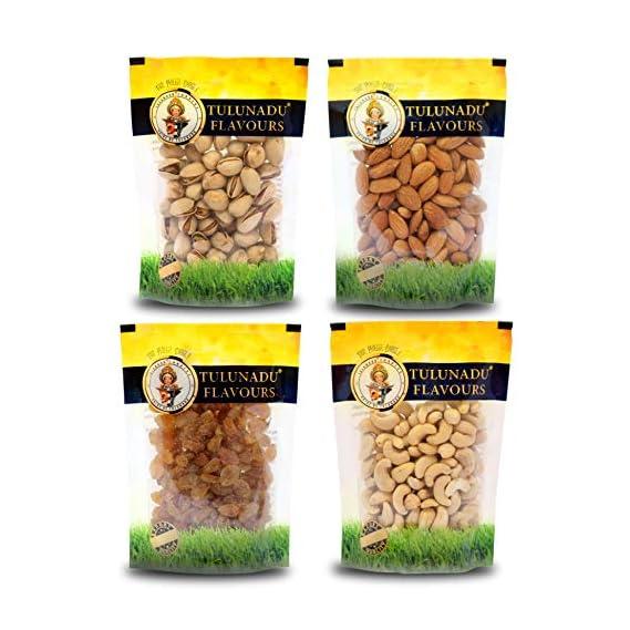 Tulunadu Flavours Dry Fruits Premium Pack 425g (Californian Almonds, Raisins, Cashew nut Whole, Pistachios)