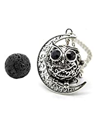 GraceAngie Antique Silver Owl Diffuser Locket Pendant Necklace Aromatherapy Essential Oil Cage Locket with Lava Beads
