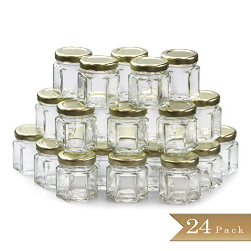 24 - TrueCraftware Mini 1.5 oz Hexagon Glass Jars with Gold Covers - Pack of 24 - Jars for Jam, Honey, Favors, Baby Food