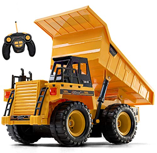 Top Race Remote Control Construction Dump Truck Toy, RC Dump Truck Toys, Construction Toys Vehicle, RC Truck Toys for 2,3,4,5,6,7,8,9 Year Old Boys and up, Toddler Toy Trucks 1:14 Scale, TR-112 (Dump Truck Remote Control)