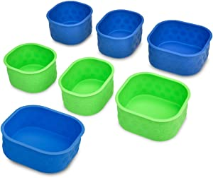 LunchBots Silicone Bento Cups Set - Accessories Designed to Fit in LunchBots Medium and Large Bento Lunch Boxes - 6 Pieces - Blue/Green