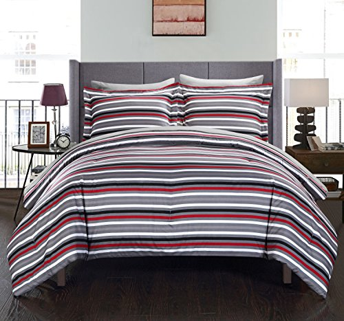 Chic Home 5 Piece Peyton Striped Printed Reversible Bed In A