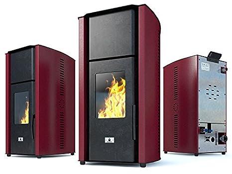 Pellet Burning Stove Eco Spar Hydro Auriga Boiler Burner for Pellet Central Heating System Home or Office 180m² 25kW Fumis Alpha Flue Pipe 80 mm stoves Heater Stove Fireplace freestanding Systems EcoSpar