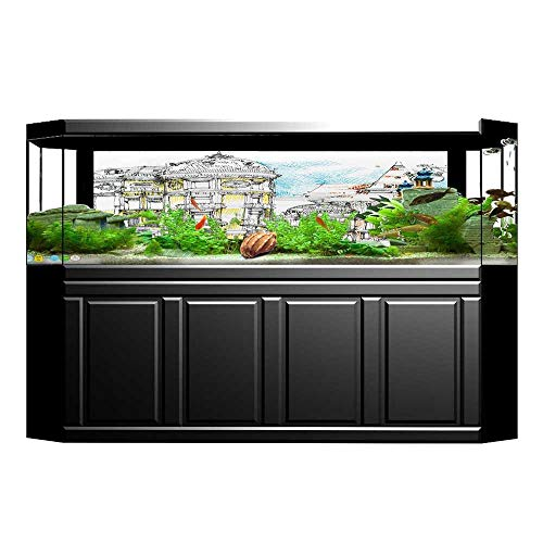 Jiahong Pan Fish Tank Background Pale Sketch Design of Middle Age Renaissance Building in Town PVC Adhesive Decor Paper Sticker L29.5 x H17.7