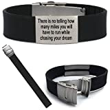 Waterproof Black Sport Fitness ID Bracelet Pre Engraved There is no telling how any miles you have to run while chasing your dream. Motivational Bracelet ID for Athletes on the Run, Bike, Swim