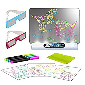 Dinosaur Toys 3D Light Up Drawing Board – Educational Erasable Doodle Magic Glow Pad with 2 3D Glasses - Gift for Kids/Toddlers Boys & Girls Ages 3 -12 Years Old
