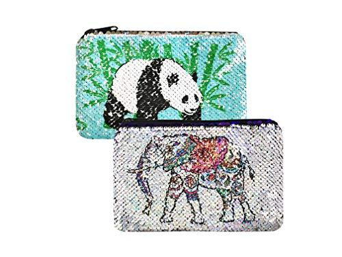 Sparkly Flip Sequin Pencil Pouch Pandas&Elephant Pattern Small Makeup Organizer Bag Purse ()