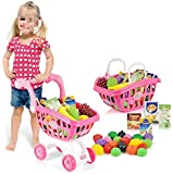Petit Caddy Caddie Petit Chariot avec Légumes Fruits Jouet pour Enfant Garçon Fille