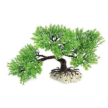 eDealMax Tanque ornamento Peces de plástico desmontable Eimulation Pino de la planta acuática decoración Verde