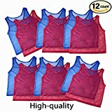 Adorox Youth Team Practice Nylon Mesh Jerseys for Sports 6 Red 6 Blue (12 Youth Jerseys)