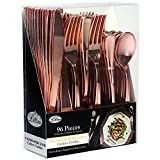 (US) Plastic Cutlery Silverware Extra Heavyweight Disposable Flatware, Full Size Cutlery Combo, Rose Gold, Value Pack 96 Count